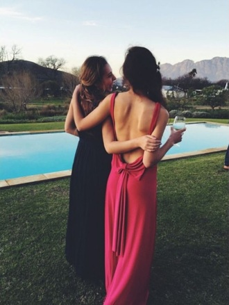 dress red dress long prom v back red bow