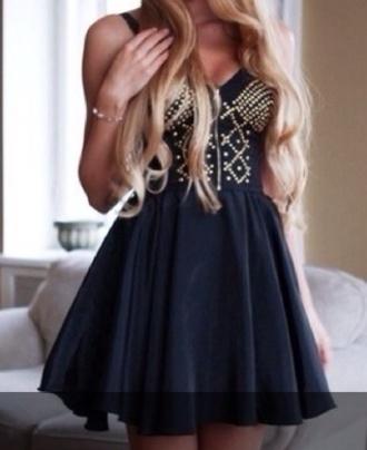 black dress little black dress studded dress