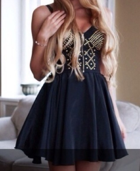 dress studded dress black little black dress