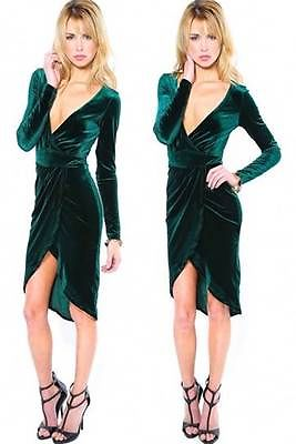 NWT Sexy Emerald Green Plunging V Neck Hi Low Hem Velvet Long Sleeve Wrap Dress
