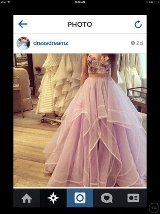 dress purple flowers two piece dress set