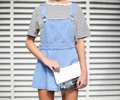 dress,skirt,pinafore,denim,light,blue,bag,shirt,striped shirt,black and white,black,white,overalls,girl,model,fashion,tumblr