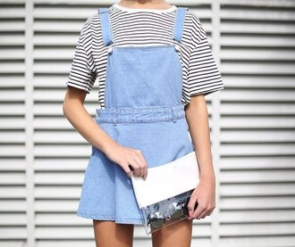 dress skirt pinafore denim light blue bag shirt striped shirt black and white black white overalls girl model fashion tumblr