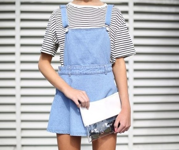 denim shirt black white striped shirt black and white overalls girl model fashion tumblr dress skirt pinafore light blue