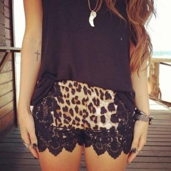 shorts black lace leopard print animal print