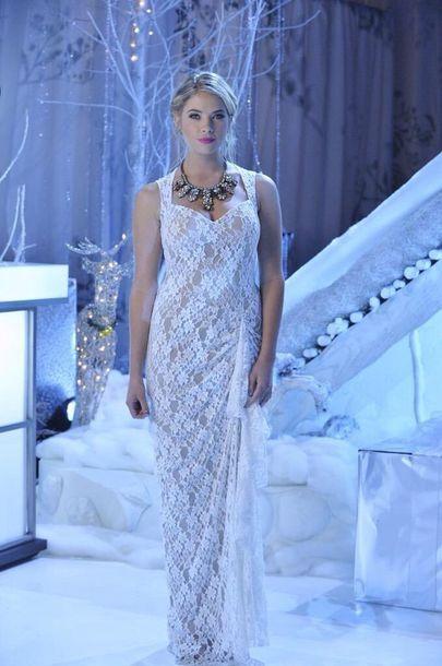 dress pretty little liars PLL Ice Ball lace dress white dress prom dress statement necklace hanna marin ashley benson