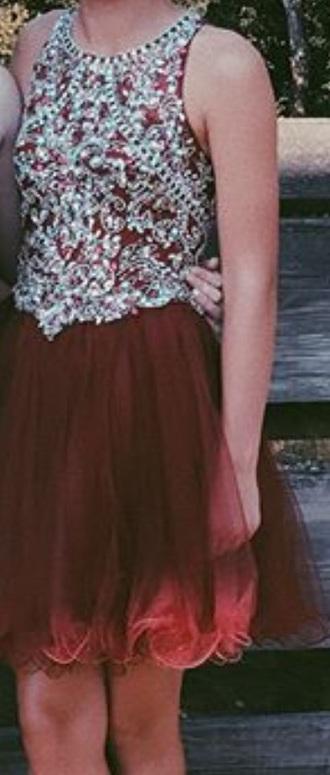 dress dark red beaded top homecoming dress