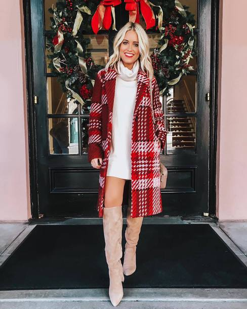 shoes boots plaid coat knee high boots white sweater winter outfits winter sweater