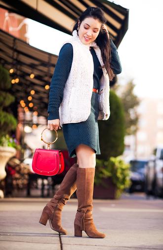 cute & little blogger top jacket sweater dress belt shoes sunglasses jewels bag
