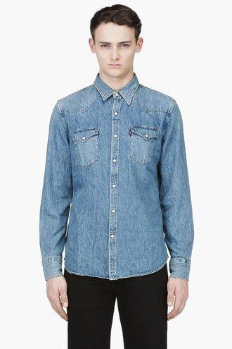 blue western shirt denim barstow clothes menswear button downs