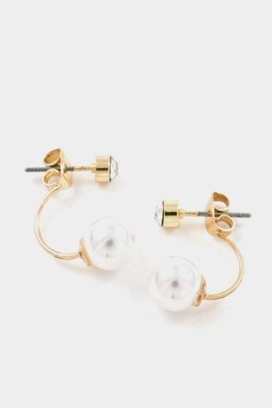 Crystal & pearl double sided post drop earrings