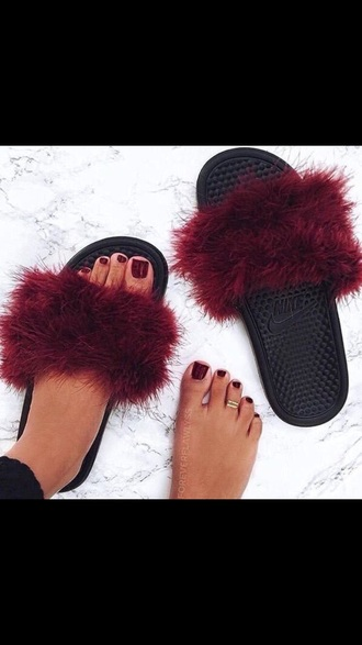 shoes nike shoes slippers black fur
