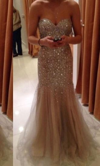 dress light brown prom dress strapless