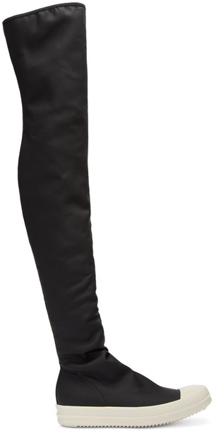 Rick Owens Drkshdw Black Rubber Over-the-knee Boots