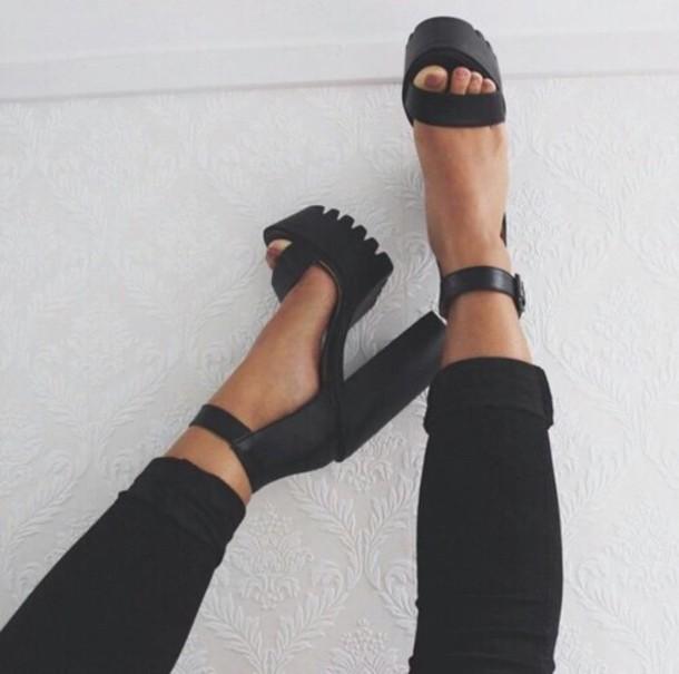 af3d82e8289 shoes heels black grunge pretty platform pumps platform shoes platform  shoes platform high heels chunky sole