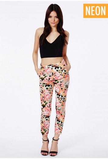 Missguided - Zoica Neon Floral Print Trousers