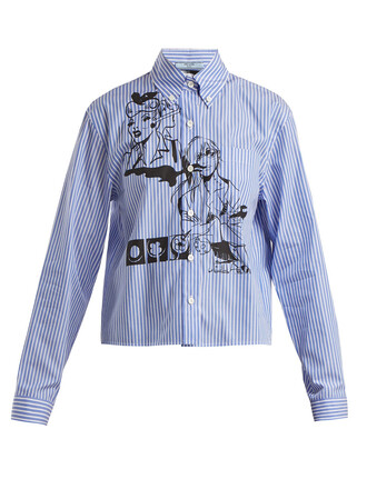 shirt cotton print blue top