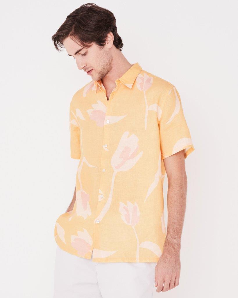 Casual Short Sleeve Shirt Tulip Print