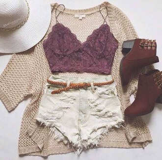 shorts belt top kimono boots hat tank top shoes cardigan