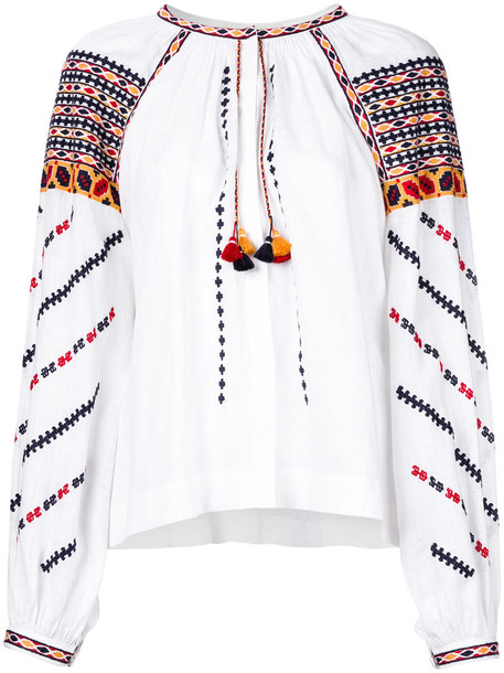 VITA KIN top embroidered women white