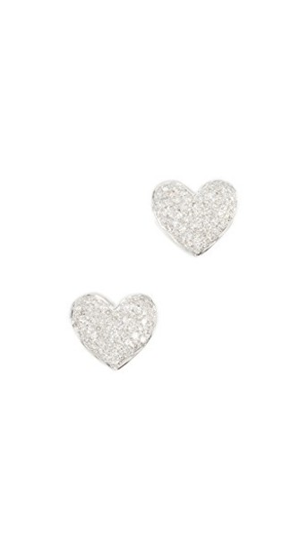 heart earrings stud earrings gold white jewels