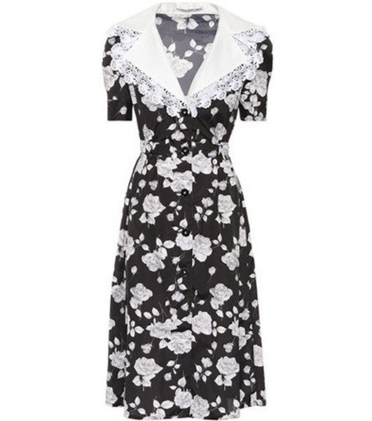 Alessandra Rich Floral-printed faille dress in black