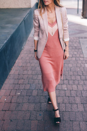 prosecco and plaid,blogger,pink dress,blazer,light pink,black heels,office outfits,date outfit,all pink everything,pink jacket,pink blazer,midi dress,monochrome outfit