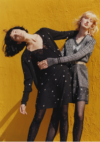 cardigan rodarte cable knit grey polka dots slip dress dress