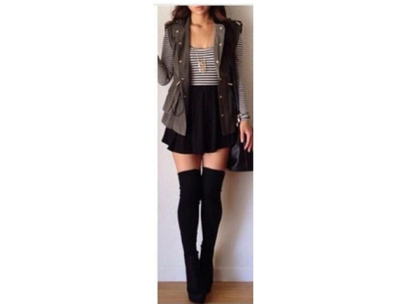 clothes striped shirt boots vest knee high socks