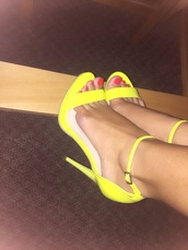 shoes,neon yellow heels,high heel sandals,yellow,neon,ankle strap heels