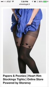 tights,black pantyhose with hearts