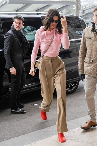 sweater cropped cropped sweatershirt hoodie cropped hoodie kendall jenner kardashians milan fashion week 2017 pants high waisted