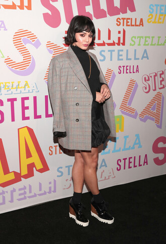 shoes skirt blazer vanessa hudgens mini skirt top turtleneck