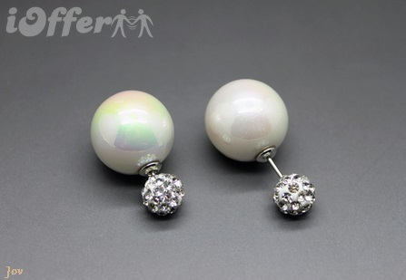 1 Pair Double Faced Neon Pearl Stud Earrings Elegant for sale