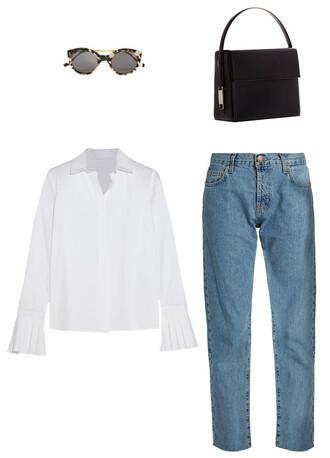 jeans straight jeans white shirt bell sleeves sunglasses bag black bag rigid bag