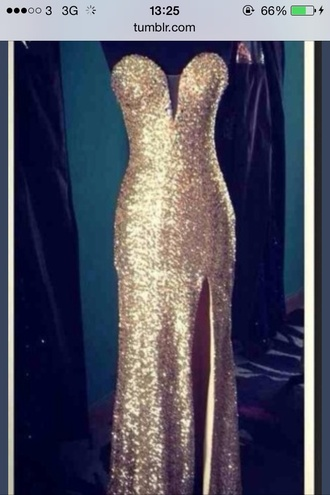 dress champagne sparkly prom dress