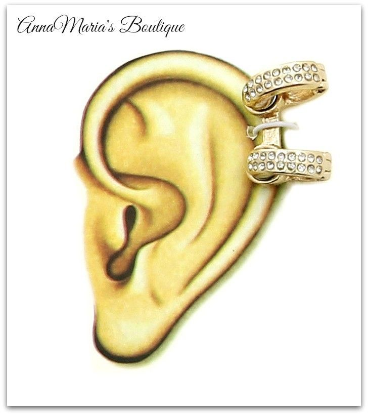 Bold Urban Glam Gold 2 Ring Clear Rhinestone Magnetic Closure Ear Cuff Earrings | eBay