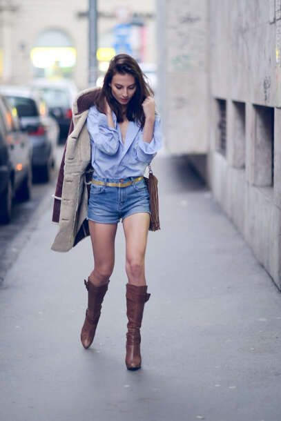 venka vision blogger denim shorts blue shirt winter coat brown leather boots coat shorts shoes shirt jewels bag