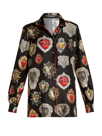 shirt heart print silk black top