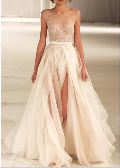 Sheer Beach Wedding Dresses