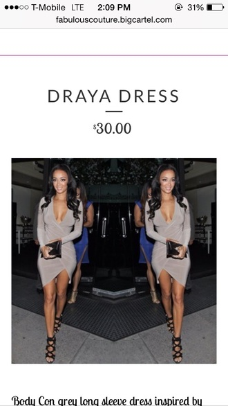 dress fashion bodycon dress worn by draya michelle in gray style 2015 trends