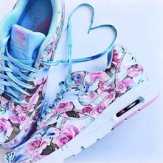 shoes flowers heart nike air max 90 blue