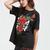 Black Embroidered Rose Applique Short Sleeve T-shirt -SheIn(Sheinside)