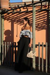 top,ruffled top,tumblr,blue top,ruffle,crop tops,skirt,maxi skirt,pleated,pleated skirt,bag,earrings