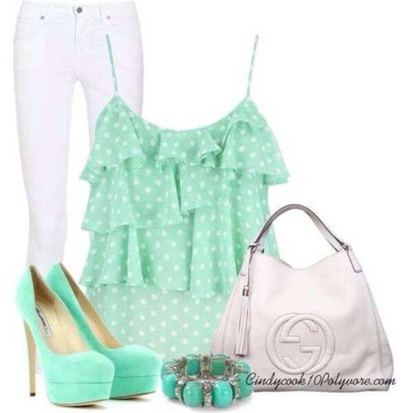 shoes heels shirt ruffle pota dots