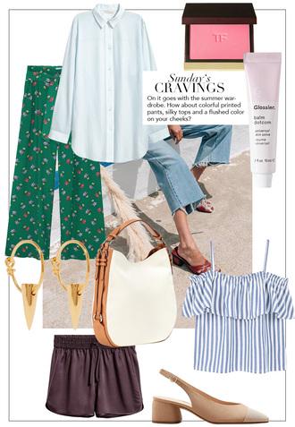 teetharejade blogger pants blouse jewels top shorts shirt summer outfits slingbacks striped top green pants