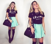 bag,mint skirt,t-shirt,skirt,jewels,celineparis,celine shirt,celine paris tshirt,black celine paris shirt,tumblr,tumblr clothes,black and white,print,printed t-shirt,blogger,fashion blogger,blogger style,clothes bloggers,fashion