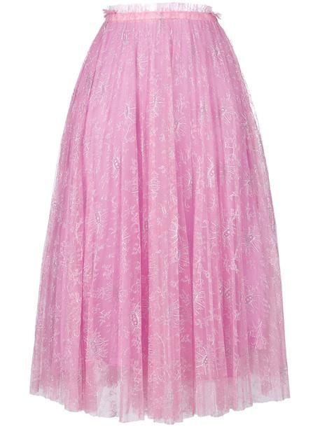 Valentino skirt lace skirt metallic high women spandex layered lace silk purple pink
