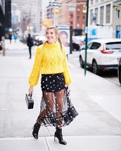skirt,sweater,yellow sweater,yellow,boots,bag,maxi skirt,polka dots,see through
