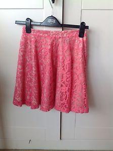 H&M Pink Lace Skater Skirt High Waist Xs Bnwot | eBay